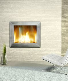 Stainless Steel Ventless Fireplace Curved Interior Design Ideas NY Hearth Cabinet