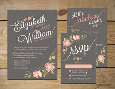 A lovely, Romantic Floral wedding invitation design, decorated with hand-drawn floral illustrations. This printable invitation set can be