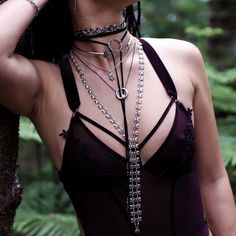 ♆ Why choose just one necklace when you can layer them all up!? ♆ Shop Running With The Wolves Now! ✧♆✧ shopdixi.com ✧♆✧ dixi // jewellery // jewelry // boho // bohemian // grunge // goth // dark // mystic // magic // witchy // necklace // choker // lariat //