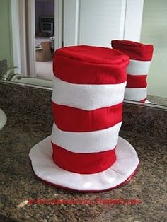 step by step how to make a Dr.Suess hat.  Could be a hat, centerpiece or goodie bag !