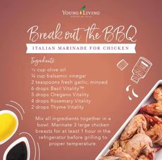 Time to break out the BBQ, because we're celebrating National BBQ Month and giving you delicious recipes to try with our Vitality™ dietary essential oils! You'll love this Italian marinade recipe. Young Living Oils, Young Living Essential Oils, Italian Marinade For Chicken, Young Living Vitality, Cooking With Essential Oils, Cooking Recipes, Healthy Recipes, Delicious Recipes, Steak Recipes