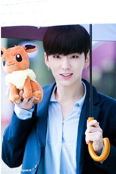 Monsta X Source: Naver x Dispatch ~ Kihyun, holding an Eevee♢