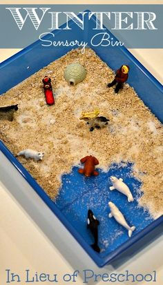 Winter Sensory Bin with Arctic Animals and coconut snow - In Lieu of Preschool