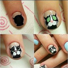 Here are some hot nail art designs that you will definitely love and you can make your own. You'll be in love with your nails on a daily basis. Cat Nail Art, Animal Nail Art, Cat Nails, Animal Nail Designs, Toe Nail Designs, Love Nails, Pretty Nails, Nails For Kids, Disney Nails