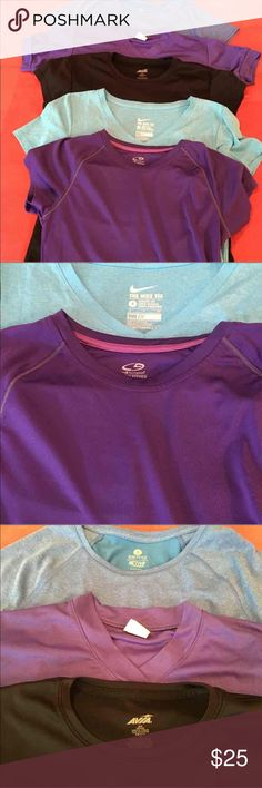5-Sport Tops Sm 1-Nike Tee Dri-Fit Light blue Small  1-Champion Purple Semi-fitted Small  1-Avia Black , says medium but more like a small  1-Danskin Purple Small  1-Active by Old Navy Blue Small All tops have sleeves and are in excellent condition Nike Tops Tees - Short Sleeve