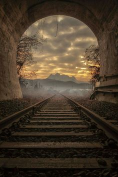 """""""Our life is a constant journey, from birth to death. The landscape changes, the people change, our needs change, but the train keeps moving. Beautiful World, Beautiful Places, Beautiful Pictures, Beautiful Sunset, Train Tunnel, Old Trains, Train Tracks, Amazing Nature, Beautiful Landscapes"""