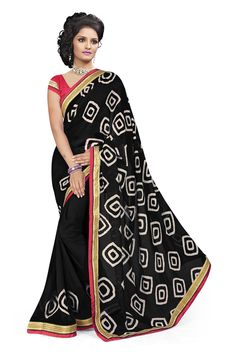 Sku : 22347 Fabric : Georgette Pallu Fabric: Georgette Blouse Fabric : Banglori Silk Detail : Printed With lace Border Georgette Saree Pattern : Printed Length : 5.2 Blouse Length mtrs : 0.8 Color : Black Blouse Color : Black Blouse Work : Occasion : Casual Black Georgette Casual Printed saree