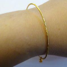 Bracelet mimosa/ plaqué or jonc avec chainette et goutte dorée (sur mesure)