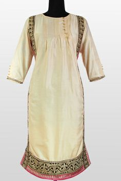 Kurti Pattern - Embroidery Silk Kurti, Pintucks Front and Back, Full Sleeves, Fully Lined, Long Straight Kurti, Formal Wear, Teamed Up with Satin Leggings And Contrast Silk Dupatta.