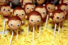 Curious George cake pops, great for a kids' birthday! See more party ideas at CatchMyParty.com.  #curiousgeorge #boybirthday #partyideas