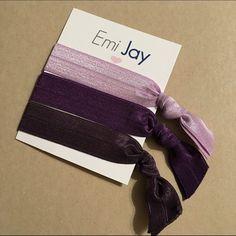Emi Jay Hair Ties - 3 Pack - Purples Colors are Vivid Violet, Amethyst, Lovely Lavender. Emi Jay Accessories Hair Accessories