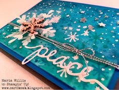 Cardbomb: On Stage Snowflake Card-Yippee! Maria Willis www.cardbomb.blogspot.com #Stampin' Up!, #onstage2015, snowflakes, cards, project life seasonal snapshot 2015, holly jolly greetings, watercolor, heat emboss, peace, sparkle