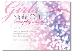 Glitter and Girls Printable Invitation for Bachelorette Party, Girls Night Out  by socialitepaperworks, $12.00