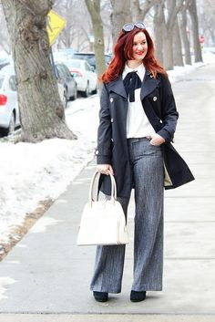 Outfit of the Day: Monochrome Tweed + a Bow on The Trendy Sparrow blog