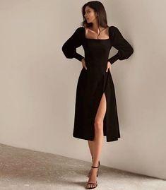 Outfits con mangas abombadas para lucir como toda una jefa Cute Casual Outfits, Pretty Outfits, Pretty Dresses, Beautiful Dresses, Black Dress Outfits, Black Midi Dress, Fancy Black Dress, Little Black Dress Outfit, All Black Dresses