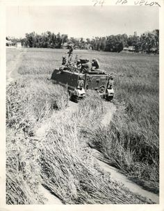 An M-113 armored personnel carrier cuts through a field as it heads for the strategic hamlet of Duc Pho, in Quang Ngai Province, about 300 miles north of Saigon. One of the major operations of a South Vietnamese Army is a campaign to liberate hamlets...