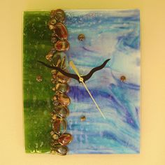 Water's Edge Fused Glass Wall Clock by blueheron on Etsy