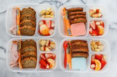 Homemade whole wheat banana bread, cheese, apple, strawberries. Two have ham and two have yogurt.Packed in Easy Lunchboxes .