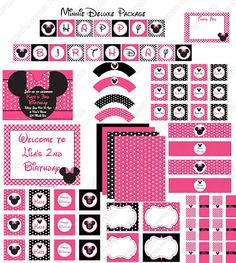 Minnie Mouse party print pack - K's Party Happy Birthday lettering