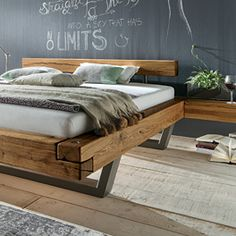 Bedroom Lamps Design, Bed Headboard Design, Headboards For Beds, Bedroom Themes, Industrial Kitchen Design, Industrial Design Furniture, Furniture Design, Solid Wood Bed Frame, Rustic Log Furniture