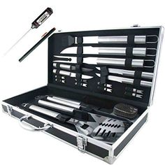 Fully equipped stainless steel pieces BBQ set Our Teikis BBQ set includes everything you need for your next barbeque. This set com