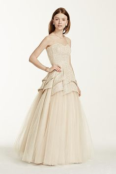 Strapless Metallic Lace Tulip Tulle Prom Dress 280091D