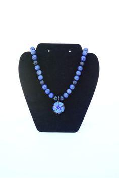 ★ Lightly Blue ★ Navy Blue Blue Gemstone and Flower Pendant Necklace. Lapis Lasuli  and Blue Goldstone Necklace. Flower Lamp Glass Pendant. Amethyst.