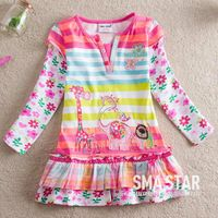 One Piece Retail Girls Dresses 2014 Flower Fashion Girls Dress Baby Girls Print Embroidery Children Clothing Kids Dress Brand