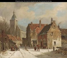 Hattem in winter - Adrianus Eversen