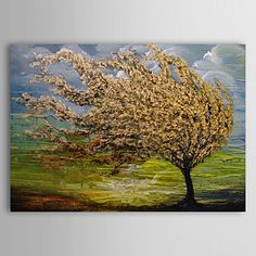 Hand Painted Oil Painting Landscape Tree of Life with Stretched Frame Ready to Hang   – AUD $ 141.66