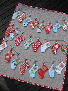 Small advent quilt. Love the tiny sock..speaks to my love for all things mini