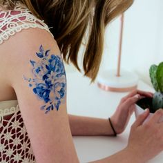 Floral Temporary Tattoo  Large Temporary by TattooedMermaidCo