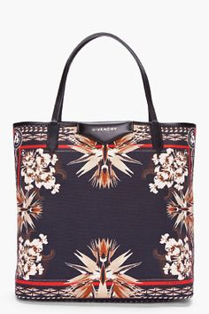 GIVENCHY //    Black Antigona Paradise Flower Tote