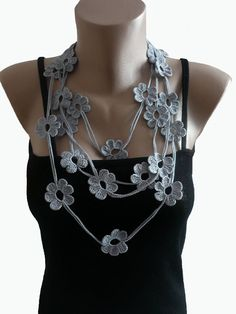 Crochet Flower Necklace Lariat Scarf Bracelet by atinqnka, $17.00