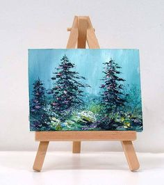 Pine trees with Blue Skies. 3x4 inch includes stand