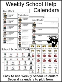 Free Weekly School Calendar - 6 Different Weekly Calendars Sheets, 1 Sheet of cards for boys or girls, and specials - 3Dinosaurs.com