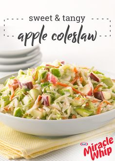 Sweet & Tangy Apple Coleslaw – Got 4 ingredients and 10 minutes? Then you're on your way to making a new summer side dish filled with flavor! Check out the recipe for yourself to discover a new potluck idea.