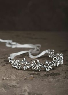 Garland headband in antique crystal with ribbon style. White by Vera Wang
