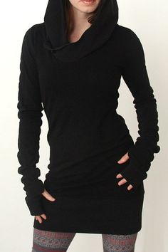 hooded tunic dress with thumb hole sleeves in BLACK от joclothing Conception dentreprise et Publicité hooded tunic dress with thumb hole sleeves in BLACK/The ORIGINAL Visual Kei, Cheap Clothing Sites, Hooded Dress, Hooded Sweater, Pullover Hoodie, Fashion Mode, Dress Fashion, Street Fashion, Looks Cool