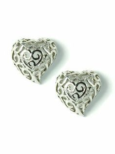 14kgp Silver Tone Filigree Heart Stud Earrings le Jane. $9.00. hallowed out heart. elegant studs earrings and a symbol of love. 14K White Gold Plated. filigree heart studs. heart shaped