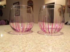 Pink and Purple Stemless Wine Glasses Pink wine glass Purple wine Glass Stemless Wine Glass by JumperKellyPhotos on Etsy