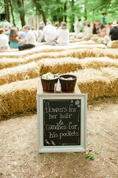 Hay bales for seating, cost effective!