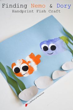 Finding Nemo and Dory Handyprint Fish Craft (Clown Fish and Blue Tang Ocean Painting)-So Cute!