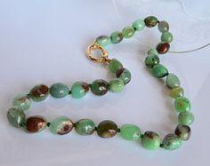 Collana crisoprasio,girocollo crisoprasio,collana argento 925,argento dorato,pietra verde,collana boho chic,fatto a mano,Made in Italy