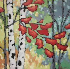 "Jennifer Woodburn ""Birch Splendour"" 20x20 inches, acrylic on canvas"