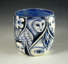 Blue and white porcelain hand made and painted OOAK by PSPorcelain