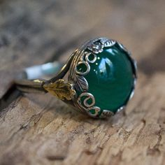 Gold leaf ring silver crown ring green quartz ring by artisanlook