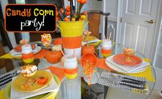 Candy Corn Party Tablescapes-The Painted Apron