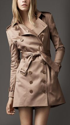 Mid-Length Nude Sateen Trench Coat | Burberry