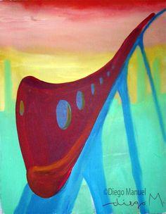 tren rojo 3, acrylic on canvas, 28 x 22 cm., year 2007. Venta de pinturas sobre trenes. Paintings of trains for sale. venda de pinturas de trens.